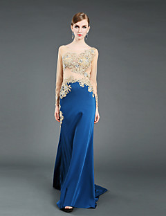 Formal Evening Dress - Pool Ball Gown Jewel Chapel Train Tulle / Stretch Satin / Knitwear