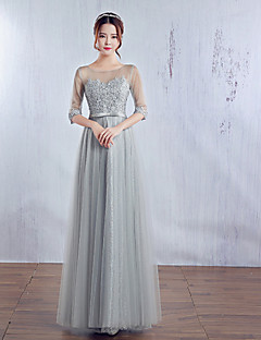 Serata formale Vestito Da ballo Con decorazione gioiello Lungo Raso / Tulle con Fiocco (fiocchi) / Di pizzo