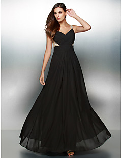 Formal Evening Dress A-line V-neck Floor-length Chiffon with Appliques / Criss Cross
