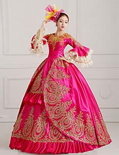 One-Piece/Dress Gothic Lolita Steampunk® / Elegant / Victorian Cosplay Lolita Dress Fuschia Print Long Sleeve Floor-length Dress For Women