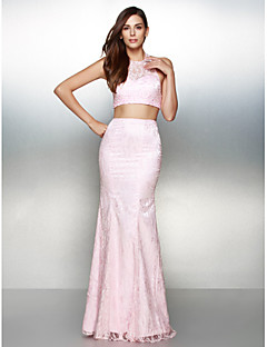 TS Couture® Formal Evening Dress - Two Pieces Trumpet / Mermaid Halter Floor-length Lace with Lace