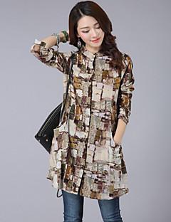 Camicia Da donna Casual Semplice Primavera,Con stampe Colletto alla coreana Cotone / Lino Blu / Rosa / Arancione Manica lunga Sottile