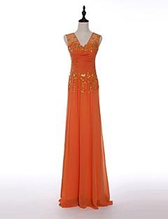 Formeller Abend Kleid - Orange Chiffon - Etui-Linie - bodenlang - V-Ausschnitt