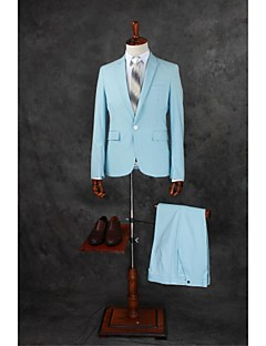 Suits Tailored Fit Notch Single Breasted One-button Cotton Blend Solid 2 Pieces Sky Blue Straight Flapped Double (Two) Light BlueDouble