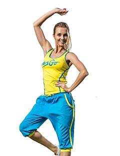 יוגה מדים בסטים מכנסיים + צמרות חדירות גבוהה לאוויר (מעל 15,000 גרם) / wicking / דחיסה / קאפ חזיה ניתן להסרה גמישות גבוהה בגדי ספורט לנשים