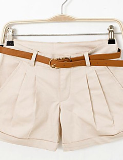 Mulheres Calças Casual Shorts Algodão Sem Elasticidade Mulheres