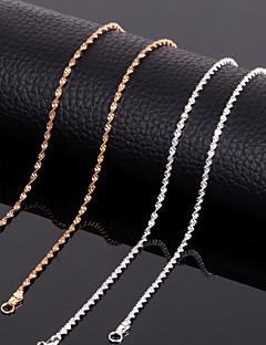 Fine 18k GP Plated 17 Inch (43cm)3mm Width Titanium Steel Spiral Shape Chain Necklace Accessories for Women Men