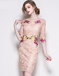 Cocktail Party Dress - Royal Blue / Candy Pink A-line Jewel Knee-length Polyester