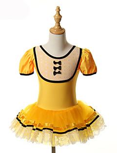 בלט חצאיות טוטו וחצאיות שמלות טוטוס בגדי ריקוד ילדים ביצועים אימון ספנדקס טול קשת (תות) חלק 1 שרוול קצר חג ליל כל הקדושים נסיכות שמלה