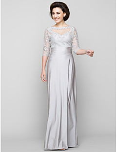 LAN TING BRIDE Sheath / Column Mother of the Bride Dress - See Through Ankle-length Half Sleeve Tulle Charmeuse with Beading