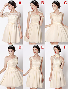 Short / Mini Chiffon / Lace Bridesmaid Dress A-line V-neck with Bow(s) / Flower(s) / Lace / Pearl Detailing / Sash / Ribbon