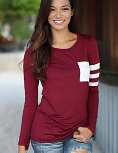 Mulheres Camiseta Casual Simples Primavera,Listrado / Color Block Vermelho / Preto / Cinza Algodão Decote Redondo Manga Longa Fina