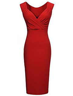 Women's Bodycon/Party V Neck Micro Elastic  Knee length Pencil Dress (Cotton Blends),Sleeveless Plus Size