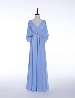 Formal Evening Dress - Sky Blue Sheath/Column V-neck Floor-length Chiffon