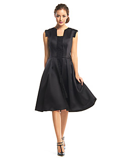 Cocktail Party Dress - Black A-line Square Knee-length Satin