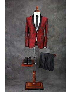 Suits Tailored Fit Shawl Collar Single Breasted One-button Polyester Patterns 2 Pieces Burgundy