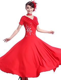 Standardní tance Šaty Dámské Výkon Čínský nylon elastan Nařasený 2 kusy Šaty Neckwear S:126 M:127 L:128 XL:129 XXL:130