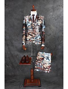 Obleky Na míru Otevřené Jednořadé s jedním knoflíkem Polyester Vzory 3 ks Vícebarevná Rovné s klopou Dvojitý (Dva) Dvojitý (Dva)Knoflíky