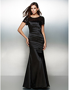 Formal Evening Dress - Black Trumpet/Mermaid Scoop Floor-length Satin