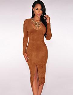 Women's  Faux Suede Long Sleeves Slit Dress