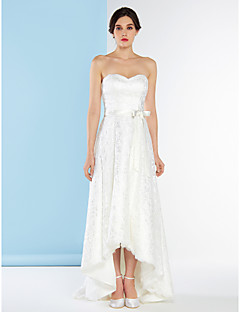 Lanting Bride® A-line Wedding Dress Asymmetrical Sweetheart Lace with Lace