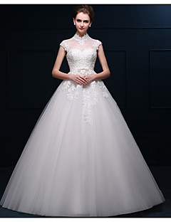 Ball Gown Wedding Dress - Ivory Floor-length High Neck Satin / Tulle