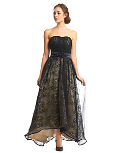 TS Couture® Formal Evening Dress - Black A-line Strapless Asymmetrical Lace / Tulle