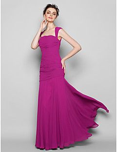 LAN TING BRIDE Floor-length Chiffon Bridesmaid Dress - Trumpet / Mermaid Square Plus Size / Petite with Ruching