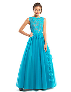 ts couture® noche formal del vestido de una línea de barco palabra de longitud de encaje / tul con encaje