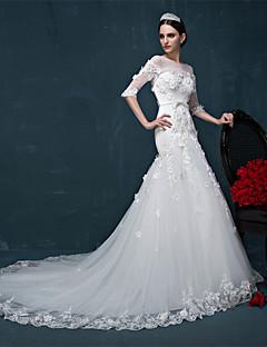 Trumpet/Mermaid Wedding Dress - Ivory Court Train Bateau Tulle