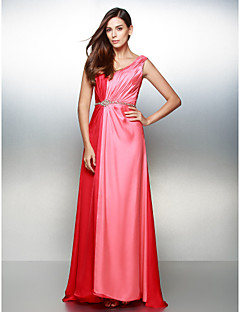 Formal Evening Dress A-line V-neck Sweep/Brush Train Satin Chiffon