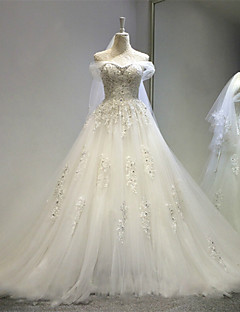 A-line Wedding Dress Court Train Off-the-shoulder Tulle with Appliques / Crystal / Lace