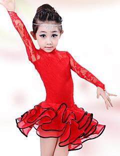 Gyermek-Latin tánc-Ruhák(Fekete / Piros,Pamut / Spandex,Csipke)