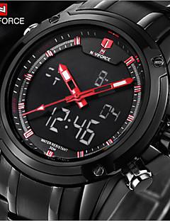 Herren Armbanduhr Quartz LED / Wasserdicht Edelstahl Band Schwarz Marke
