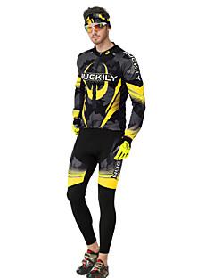 Nuckily שרוול ארוך לגברים אופניים מדים בסטיםנושם שמור על חום הגוף עיצוב אנטומי בטנת פליז מבודד רוכסן קדמי תיק קטל מובנה עמיד לאבק לביש