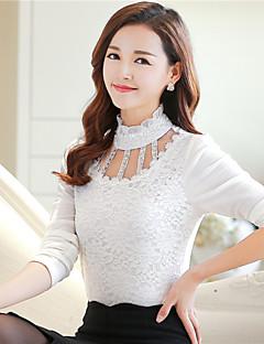 De las mujeres Simple Formal Invierno Camiseta,Cuello Alto Estampado Manga Larga Poliéster / Nailon Rojo / Blanco / Negro Grueso