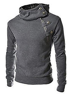 Men's Plus Size Solid Black/Brown/Dark Gray Hoody,Casual Stand Longe Sleeve Zipper