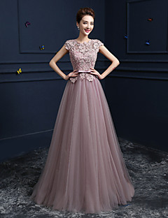 Formal Evening Dress - Blushing Pink Ball Gown Jewel Floor-length Lace / Satin / Tulle