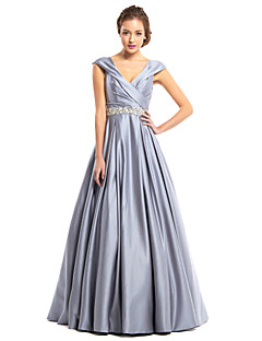 TS Couture® Formal Evening Dress - Silver A-line V-neck Floor-length Satin
