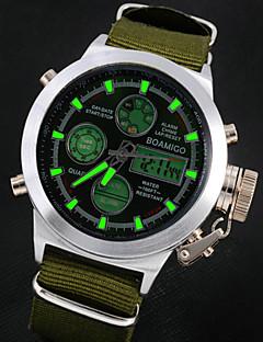 Herren Armbanduhr Quartz Japanischer Quartz LCD Kalender Chronograph Wasserdicht Alarm Leder Band Braun Grün Braun Grün