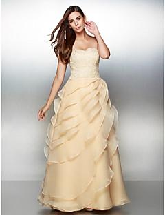 שמלה ערב רשמי - שמפניה קו A - אהובה - עד לקרסול - תחרה / אורגנזה
