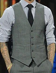 Men's Long Sleeve Vest , Cotton Casual Work Pure