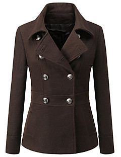 Women's Vintage Coat,Solid Notch Lapel Long Sleeve Winter Red / Black / Brown Rayon Opaque