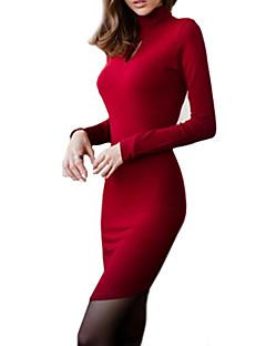 High Neck Long Sleeve Women Dress