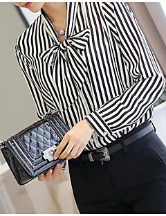 Dámské Proužky Společenské Jednoduché Košile-Léto Polyester Nabíraný límeček Dlouhý rukáv Černá Tenké