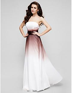 저녁 정장파티 드레스 - 멀티컬러 A-라인 바닥 길이 끈없는 스타일 쉬폰
