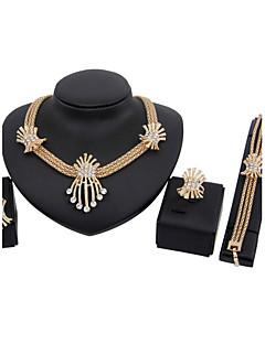 בגדי ריקוד נשים סט תכשיטים עגילי טיפה שרשראות תליון וינטאג' תכשיטי יוקרה תכשיטים אבן נוצצת ציפוי זהב תכשיטים עגילים שרשרת צמיד עבור Party
