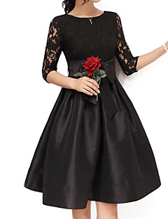 Women's Party Plus Size Sophisticated Lace Skater Dress,Solid Round Neck Above Knee Cotton Polyester Nylon Spandex All Seasons High Rise