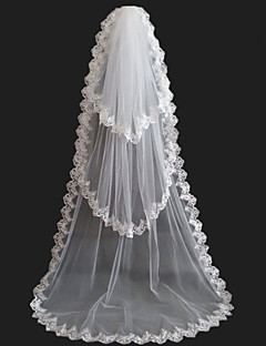 Bridal Veil Three-tiers Chapel Veil Lace Appliqued Edge