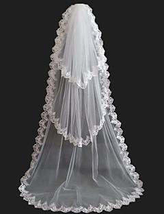Hochzeitsschleier Drittschichtig Kapellen Schleier Spitzen-Saum Tüll Weiß Weiß